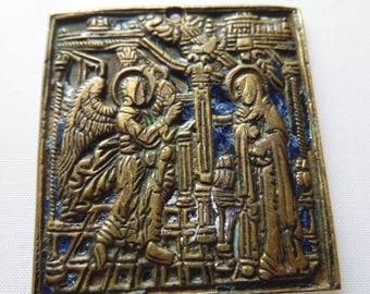 Russian orthodox icon Bronze, Enamel 19th century The Annunciation أيقونة
