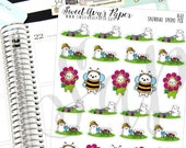 Spring Planner Stickers - Bee Planner Stickers - Lawnmower Planner Stickers - Water Plants Planner Stickers - Cat Planner Stickers - 1602
