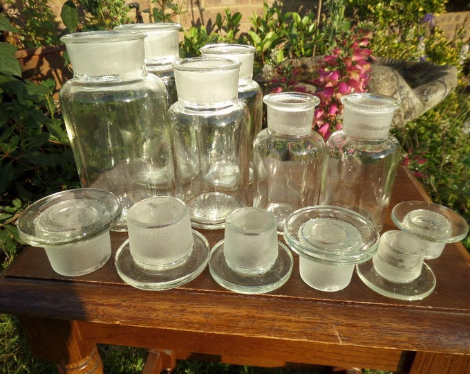 FREE SHIPPING Chemist Apothecary Jars, Glass Stoppers, Clear Glass Spice Storage Jars, Vintage Mid Century Various Sizes Excellent Condition