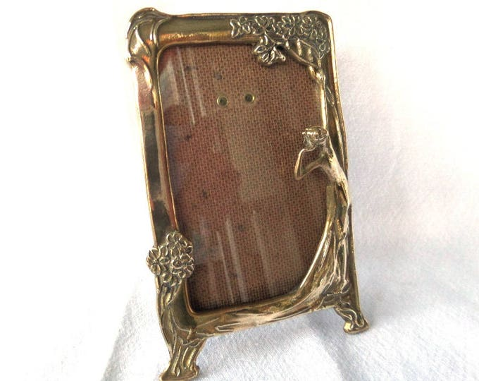 """Brass Art Nouveau 1920's Style Photo Frame, Wistful Lady, Sweeping Long Dress & Flowers, 5.5"""" x 3.5"""", Immaculate, Ideal Gift"""