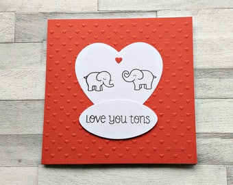 Girlfriend Birthday Card, Boyfriend Birthday, Wife Birthday, Husband Birthday, Cute Love Card, Cute Elephants, Anniversary Card,