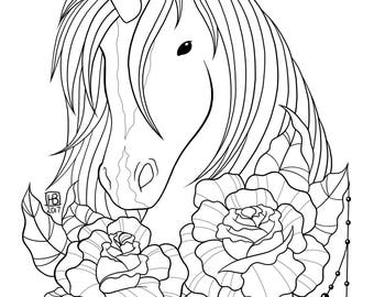 Adult Coloring Page - Unicorn