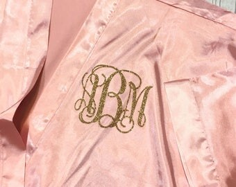 Pink Satin Kimono Robe - Glitter Monogram Personalization - Bridal Party Bridesmaid Robe