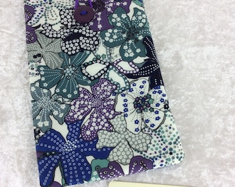Mauvey Flowers Large Phone Glasses Case fabric elastic button Handmade in England