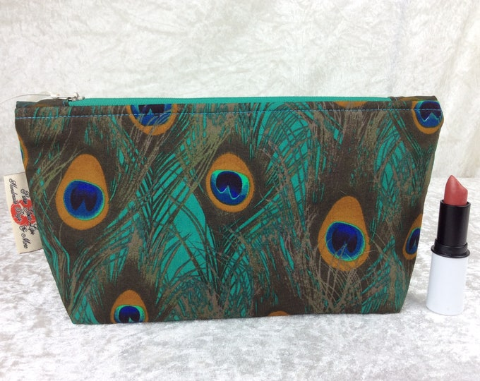 Peacock Feathers Zip Case Bag Pouch fabric Handmade in England