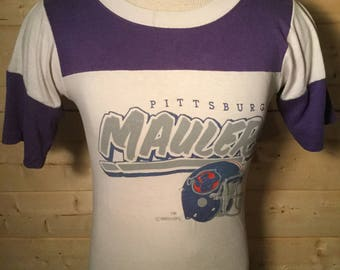Vintage 1980's Incredible Pittsburgh Maulers USFL 50/50 Jersey T-Shirt Made in USA