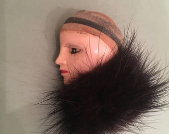 Vintage 1980s French Pierrot Clown Pin With Fur collar