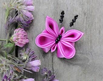 Kanzashi butterfly brooch Cute gift for girl Black pink brooch Magenta textile jewelry Keepsake Fuchsia butterfly wedding Kids Birthday gift