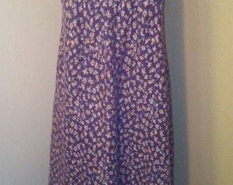 1970s Plum Sundress with Peach and Brown Flowers