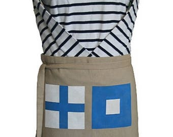 """Apron man or woman inspired by the sea in marked canvas """"I am stopped in fog"""""""