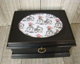 Black Valet Box, Bicycle Jewelry Box, Black Trinket Box, Unique Jewelry Box, Up Cycled Valet Box, Decoupaged Jewelry Box