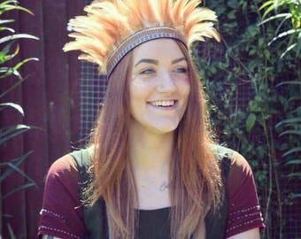 Handmade Feather Headdress, Peach/Beige Boho Gypsy Crown, Indian Headband
