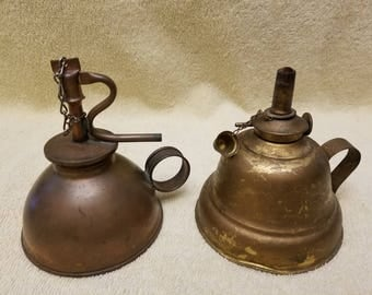 Lot of 2 vintage Oiler oil can kerosene lamps