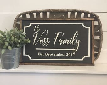 """Family Established Sign 