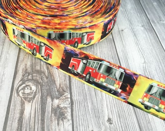 Fire truck ribbon - Firemen ribbon - Firefighter ribbon - Emergency services - Dad fire fighter - Mom fire fighter - DIY fireman bow