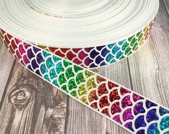 """Mermaid rainbow ribbon - Be a mermaid - Mermaid ribbon - Be a mermaid - Fish ribbon - Ocean ribbon - Sea life ribbon - 1"""" Grosgrain ribbon -"""