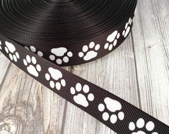 "Paw print ribbon - 7/8"" Grosgrain ribbon - Puppy paw ribbon - Black and white - I love dogs - Foster dogs - Dog rescue - Dog collar ribbon"
