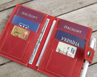 Leather family passport holder\ Leather Family Passport Cover\ Holds 4 6 Passports\ family passport holder\ leather travel wallet