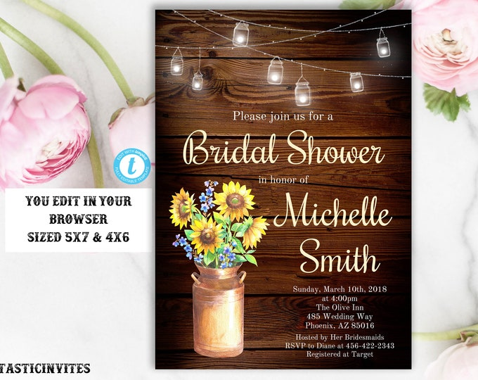 Rustic Floral Bridal Shower Invitation Template, Printable Rustic Bridal Shower Template, Sunflower Bridal Shower Invite, Instant Download