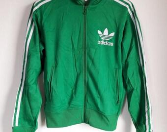 Vintage Adidas Trefoil Green Hip Hop Clothing Hoodie Sweatshirt Jacket Small