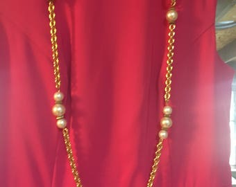 Vintage Long Gold Chain and Pearl Necklace