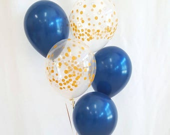 "11"" Navy and clear gold confetti balloons. Navy and gold. Navy balloons. Gold confetti balloons. Navy and gold balloons. Navy latex"
