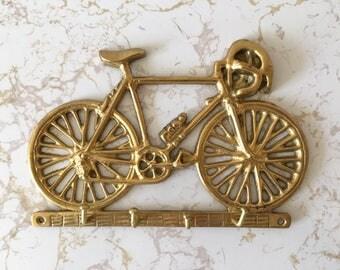 Vintage brass bicycle key rack, bike key holder