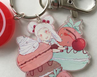 Sweets girls Almond & macarons Acrylic Charm Keychain