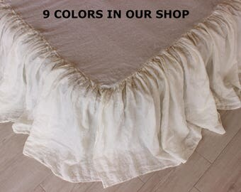 Linen Dust Ruffle Bedskirt 9 colors Stone Washed Shabby Chic Look European Organic Linen Twin Full Queen King CalKing size Ruffles Bed Skirt
