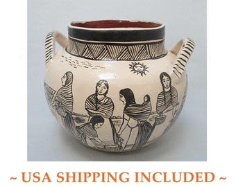 Angelica Morales Gamez Mexican Pot Hand Painted Signed/Dated 1988