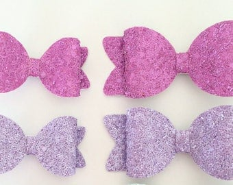 Glitter Hair Bow - Pink - Purple Hair Bows - Spring Colors