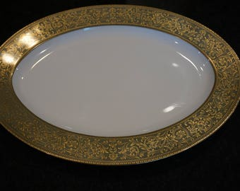 Vintage Sango China Versailles Pattern Oval Serving Platter/Japan/ Green and Gold/ Large Platter/ Holiday table/ Wedding Decor