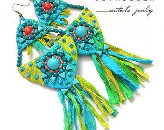 Colorful Dangle Earrings, Colorful Soutache Earrings, Handmade Beaded Jewelry, green Earrings, Colorful Earrings, lime Earrings
