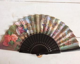 Vintage Hand Fan - Vintage Spanish Hand Fan Black Lacquer Wood and Paper - Folding Hand Fan - Vintage Fan