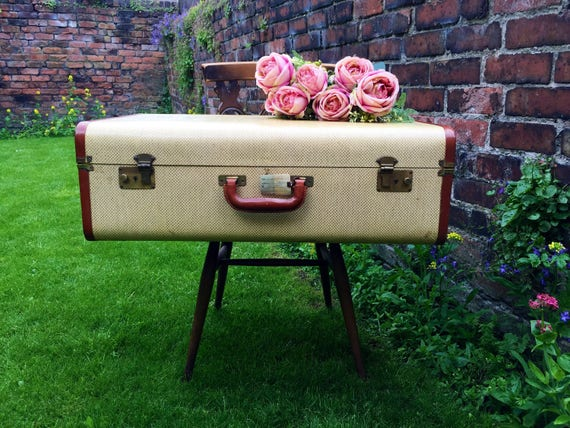 Pale Yellow and Cream Suitcase Trunk with Tan Brown Trim - Vintage Trunk - Vintage Suitcase - Vintage Luggage - Home Decor - Film Photo Prop