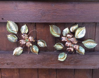 Vintage Metal Flower Wall Sculpture--Mid Century Metal Flowers--Brass and Copper Flowers