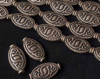 """Antique Copper 18x10mm Tibetan Style Etched Flat Oval Beads (8"""" strand)"""