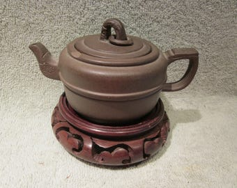 Chinese Yixing Zisha Clay  Teapot Outstanding Hand Carved Details Vintage Signed