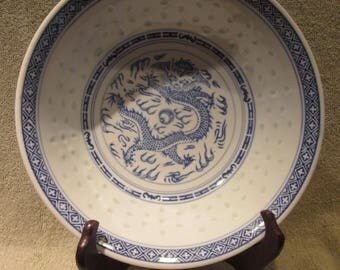 """Chinese Dragon Rice Grain  Serving Bowl  9 1/4 """" Wide  4 """" High  Heavy  1 Lb 14 oz Vtg  China  Marks Excellent"""