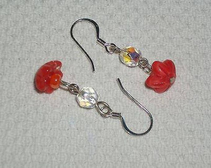 Hippie Chic Handmade Orange Flower Glass Bead Stainless Steel Drop Dangle Earrings