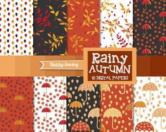 Autumn Digital Paper Umbrella Rain, 12x12 Scrapbook Papers Fall Digital Texture Autumn Fall Scrapbook Sets Rain Digital Paper Brown Orange