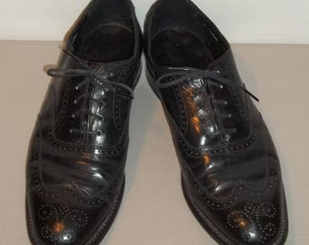 Vintage Shoes Stacy Adams Wingtip Oxford Shoes Black Leather Lace Up Shoes Men Dress Shoes Mens Oxfords Wingtips Shoe Size 9 D T30 MA7176
