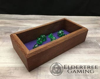 Premium Dice Tray - Personal Sized - Lacewood with Felt or Leather Rolling Surface - Eldertree Gaming