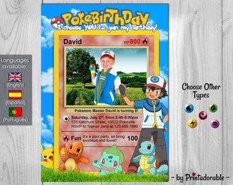 Pokemon Invitation - Pokemon Birthday Party - Pokebirthday - Pokemon Card - Customizable photo