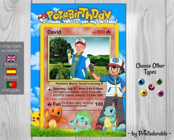 Pokemon Invitation - Pokemon Birthday Party - Pokebirthday - Pokemon Card - Customizable photo