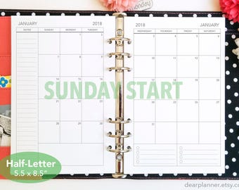 PRINTED Mo2p - BLANK back - SUNDAY start - Month on 2 page calendar - Dated thru December 2018 - Monthly planner insert - Half letter - 22HB