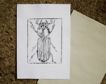 Hand made Beetle greeting card