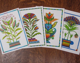 Greeting card set, card assortment, 4 for price of 3, botanical note card, handmade folk art card assortment, flower card, floral note card