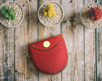 Red, wet, water felted wool wallet or pouch with solid wood button coin purse