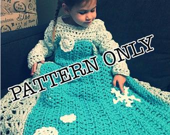 Princess Dress Blanket, Snowflake, crochet pattern, Digital Download, PDF only, toddler child adult sizes